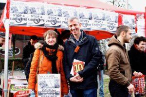 Anja Deschoemacker (in oktober 2012 lijsttrekker van Gauches Communes in Sint-Gillis) en Gilles Smedts (in 2012 lijsttrekker in Jette)