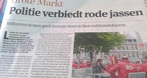 Antwerpen. Verbod om na betoging met rood jasje aan terras te doen