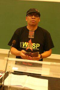 Weizmann Hamilton van de Workers and Socialist Party (WASP) op de internationale zomerschool van het CWI