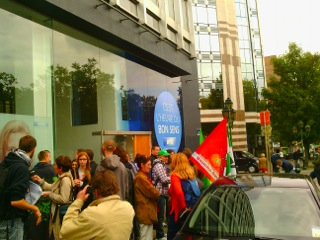 Brusselse actie aan de lokalen van de MR