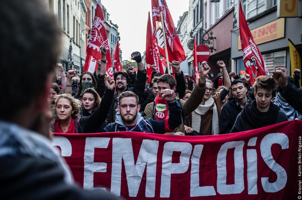 Foto's van de antifascistische betoging in Brussel