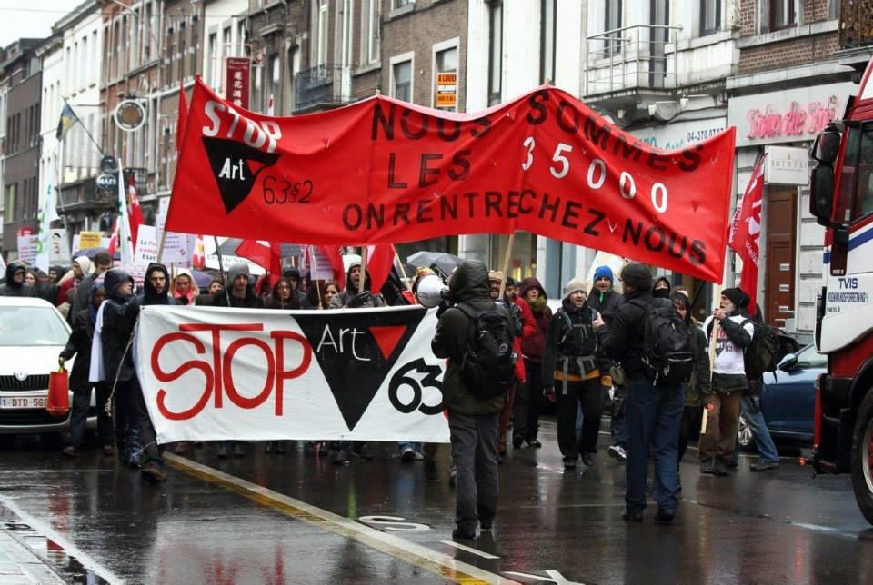 Betoging in Luik. Foto: Netwerk Stop Artikel 63§2
