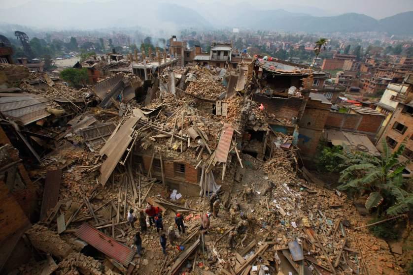 Verwoesting in Nepal na aardbeving