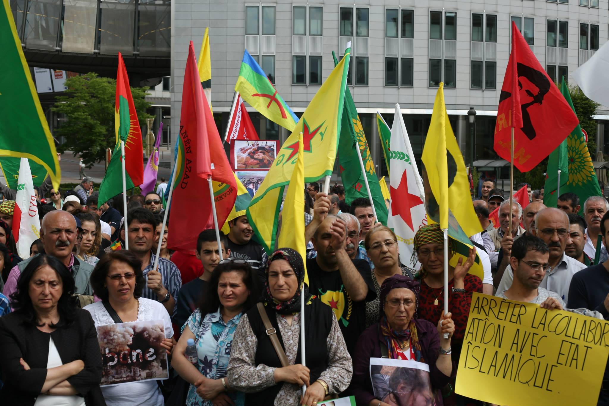 [FOTO] Brussels protest tegen geweld van IS in Kobane (Koerdistan)