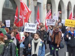 Europese betoging tegen TTIP