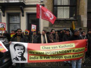 Protestactie aan de Indische ambassade in Brussel in 2013 naar aanleiding van de uitvoering van de doodstraf op Afzal Guru