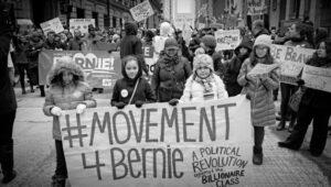 Betoging voor Bernie Sanders. Socialist Alternative nam het initiatief voor #Movement4Bernie om los van de Democraten acties en debatten te organiseren.om de politieke revolutie waar Bernie Sanders voor pleit te versterken.