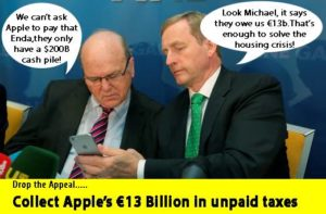 Afbeelding van de Anti Austerity Alliance. Een conversatie tussen minister van financiën Michael Noonan en premier Enda Kenny. Vreemd genoeg geen satire, maar gezien hun reacties een vrij realistische inschatting.