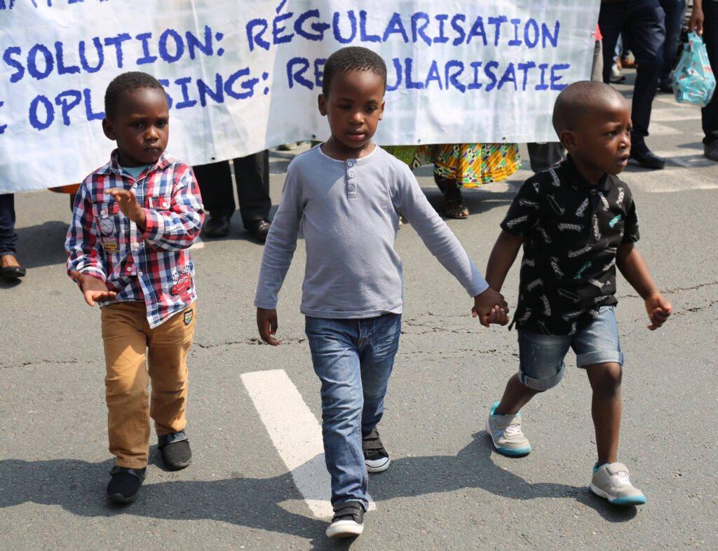 Betoging van mensen-zonder-papieren in juni. Foto: PPICS