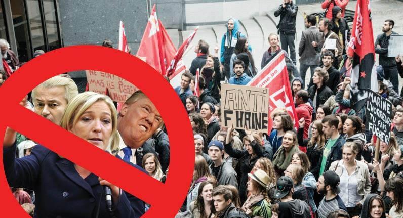 Dag na Franse presidentsverkiezingen antiracistisch protest in Brussel