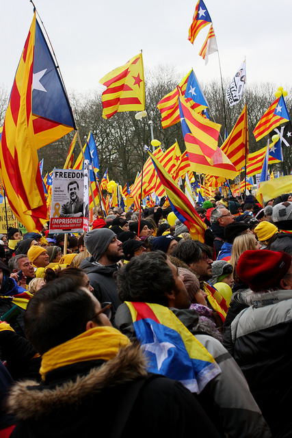 Tienduizenden Catalanen betogen in Brussel