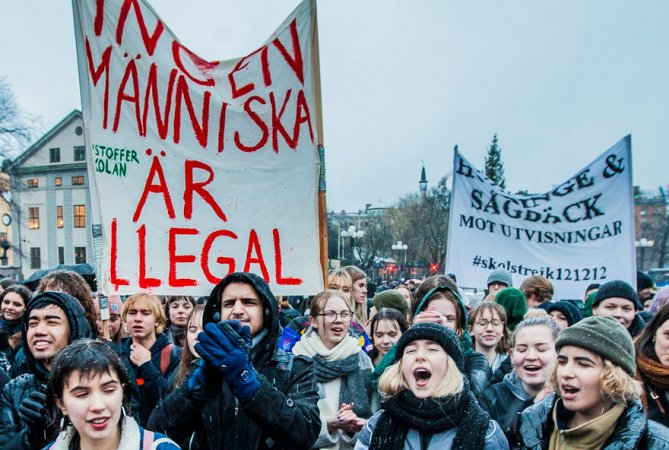 Zweedse scholierenstaking tegen deportaties