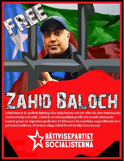 Zweden: laat Zahid Baloch vrij! Politieke activist met deportatie bedreigd