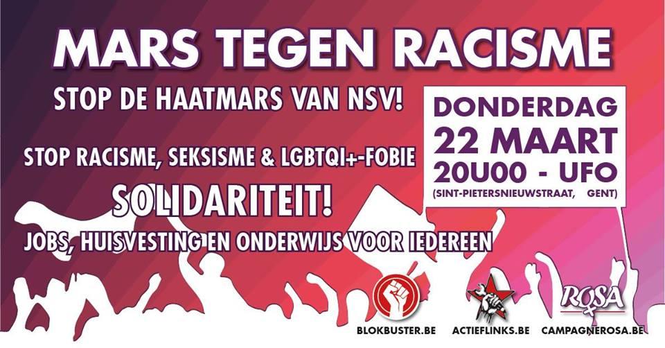 22 maart: Mars tegen racisme. Stop de haatmars van NSV