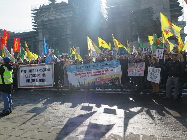 Brusselse protestactie tegen Turkse invasie in Afrin