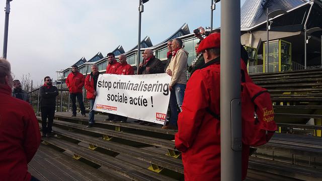 Protest tegen criminalisering sociale actie