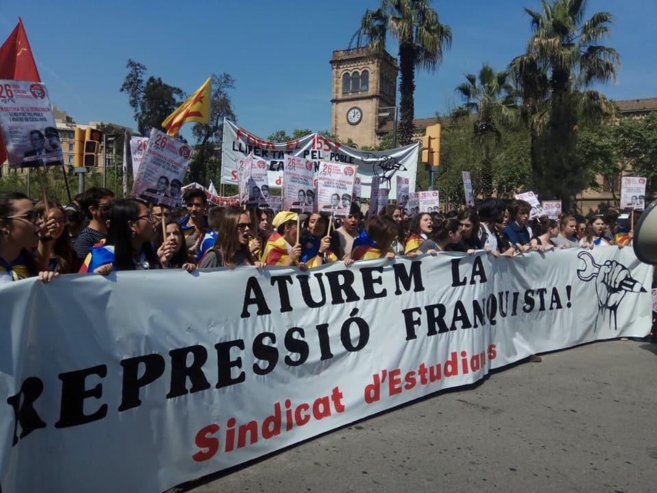 Jongeren in Catalonië voeren actie tegen repressie