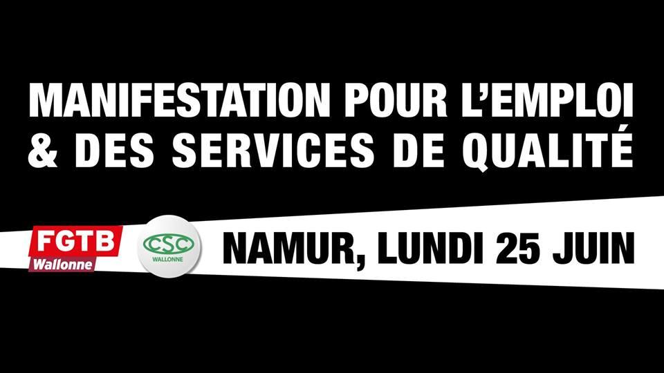 Vandaag vakbondsbetoging tegen Waalse regering