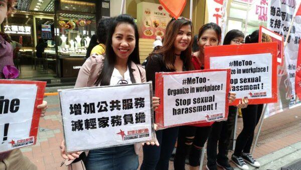 Migrantenvrouwen protesteren tegen moderne slavernij in Hongkong