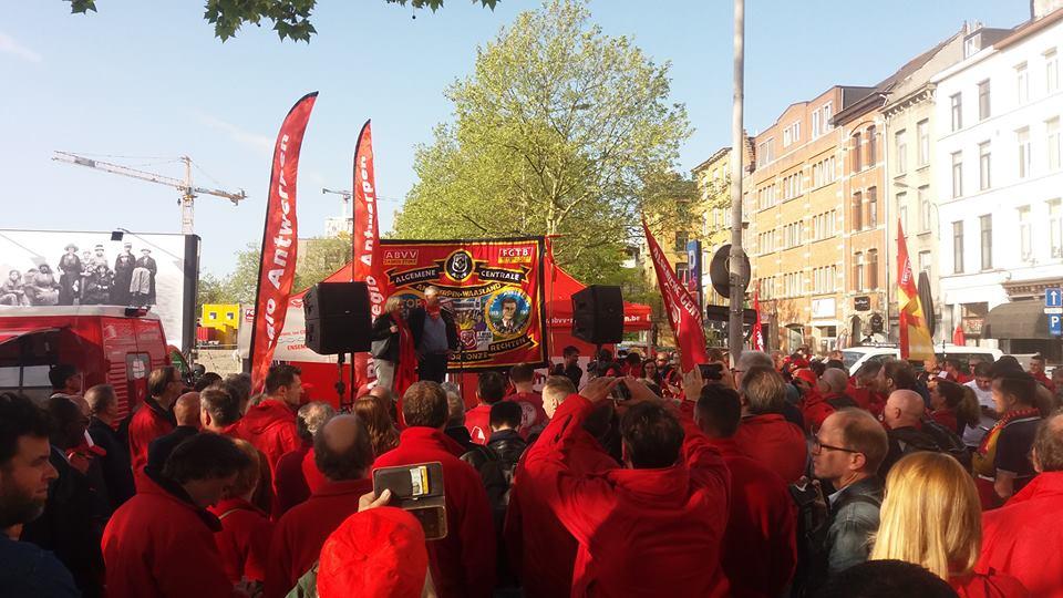 Opnieuw protest tegen vervolging Antwerpse ABVV-voorzitter