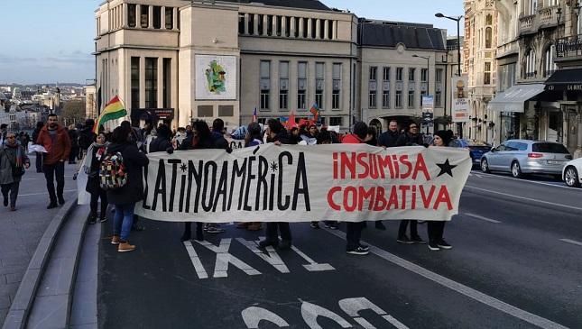 Latijns-Amerikaanse mars in Brussel tegen het neoliberalisme