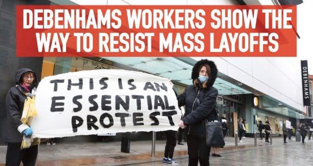 Personeel Ierse winkelketen Debenhams protesteert tegen afdankingen